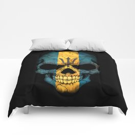 Dark Skull with Flag of Barbados Comforters