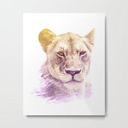 FEMALE LION SUPERIMPOSED WATERCOLOR Metal Print