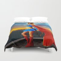 supergirl Duvet Covers featuring Supergirl by Shana-e