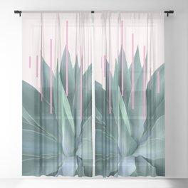 Agave geometrics II - pink Sheer Curtain