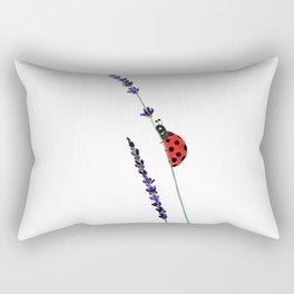 red ladybug and purple lavender Rectangular Pillow
