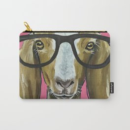 Goat with Glasses, Pink Goat Painting, Farm Animal Carry-All Pouch