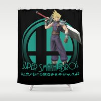 super smash bros Shower Curtains featuring Cloud - Super Smash Bros. by Donkey Inferno