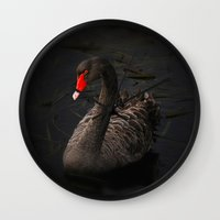 black swan Wall Clocks featuring Black Swan by Kristiana Art Prints
