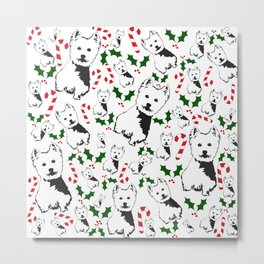 WEST HIGHLAND TERRIER CHRISTMAS GIFTS WRAPPED FOR ALL Metal Print