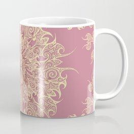 Oriental Tattoo Mandala gold on rose pink Coffee Mug