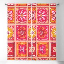 Talavera Mexican Tile – Hot Pink & Orange Palette Blackout Curtain