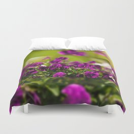 Purple pansies flowering bunch Duvet Cover