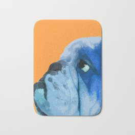 English bulldog portrait. Yellow pop art. Bath Mat