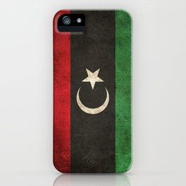 Old and Worn Distressed Vintage Flag of Libya iPhone Case