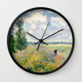 Poppy Fields near Argenteuil by Claude Monet Wall Clock