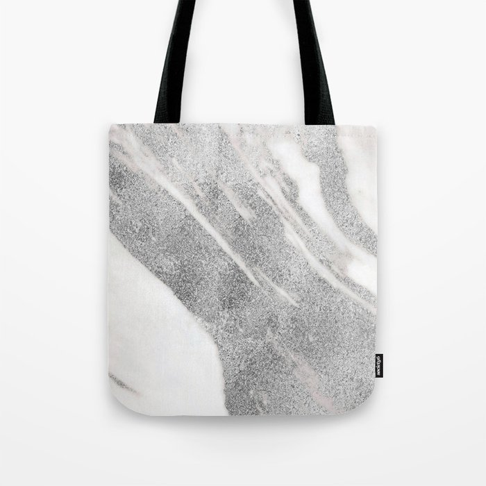 Marble - Silver Glitter on White Metallic Marble Pattern Tote Bag