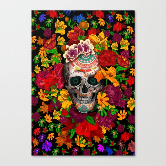 Day of the dead sugar skull flower iPhone 4 4s 5 5c 6, ipod, ipad, pillow case Canvas Print