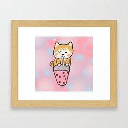 Boba with shiba Framed Art Print