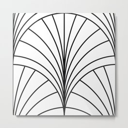 Round Series Floral Burst Charcoal on White Metal Print
