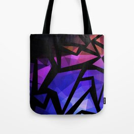 Abstract print of triangles polygon print. Bright dark design colors Tote Bag