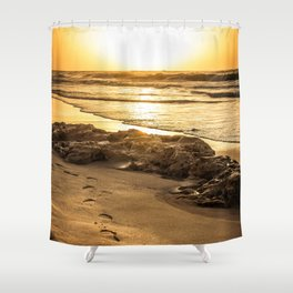 Footstep sunset seaview Shower Curtain
