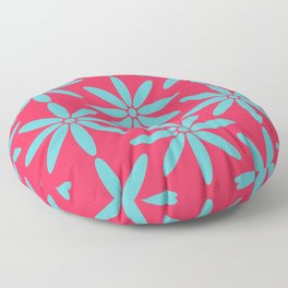 Pink and Blue Vibrant Flower Fusion  Floor Pillow