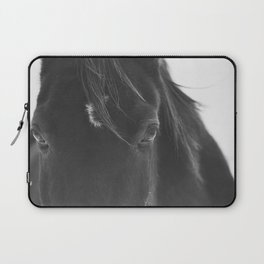 Close Up Black Horse Photograph Laptop Sleeve