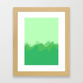 Wave pattern nature abstraction (green) Framed Art Print