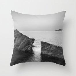 Serenity Sea. BW square. At Sunrise Morning Throw Pillow