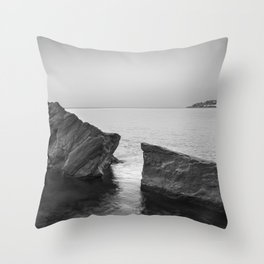 Serenity Sea. BW square. At Sunrise Morning Throw Pillow