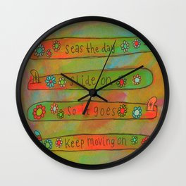 Positive Logger - Longboard Surfboards - Happy Surfers Wall Clock