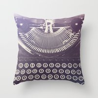 typewriter Throw Pillows featuring Typewriter by Jessica Torres Photography