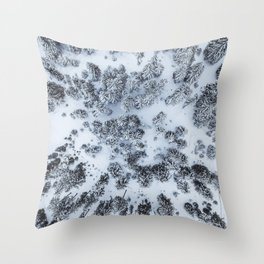 The Evergreen Forest Aerial (Black and White) Throw Pillow