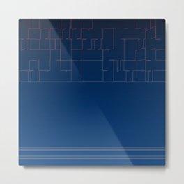 Digital Dark Navy Blue Ombre Fine Lines Metal Print