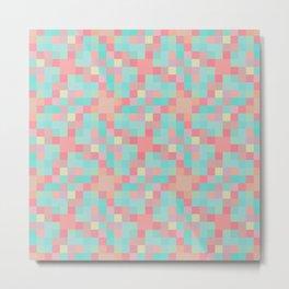 Neon teal pixel play mosaic Metal Print