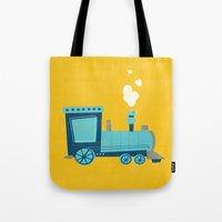 train Tote Bags featuring Train by KatieDaugherty
