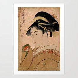 Vintage Japanese Ukiyo-e Woodblock Print Woman Portrait V Art Print