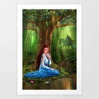 Mystery Fairytale Maiden and Prince in the Forest Art Print