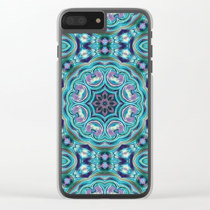 Blue ornament. Kaleidoscope. Clear iPhone Case