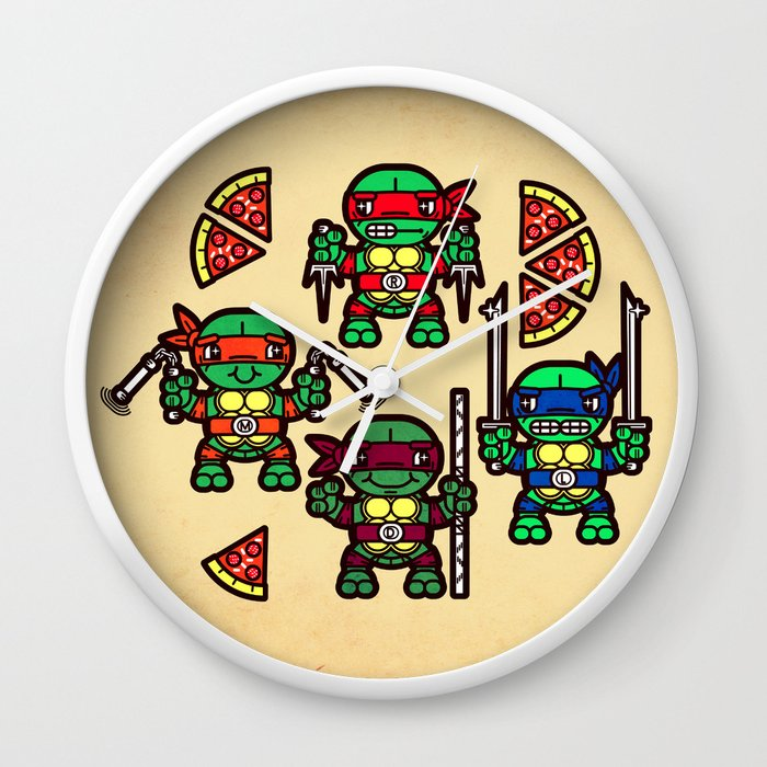 Teenage Mutant Ninja Turtles Pizza Party Wall Clock by chobopop ...