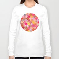 bedding Long Sleeve T-shirts featuring Hot Pink, Gold, Tangerine & Taupe Decorative Moroccan Tile Pattern by micklyn