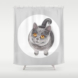 Smiling Rounded Cat Shower Curtain