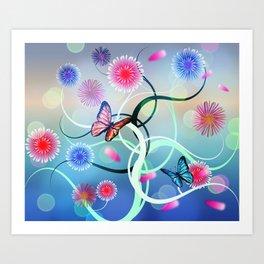 Dahlias and Vines Art Print