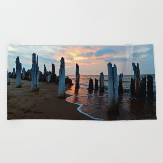 Pillars of the Past at Dusk Beach Towel