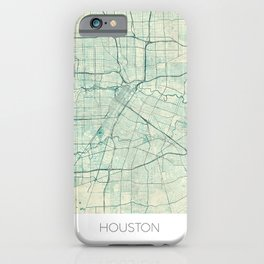 Houston Map Blue Vintage iPhone Case