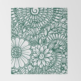 Hand drawn forest green white modern floral Throw Blanket