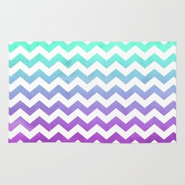 Purple Mint Aqua Ombre Chevron Pattern Rug