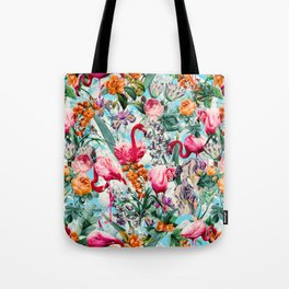 Floral and Flamingo VII pattern Tote Bag