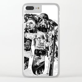 Snowboard Season in Black and White Clear iPhone Case