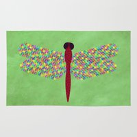 dragonfly Area & Throw Rugs featuring Dragonfly by Artbrightcy