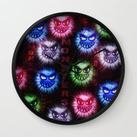 monsters Wall Clocks featuring Monsters by CLE.ArT.
