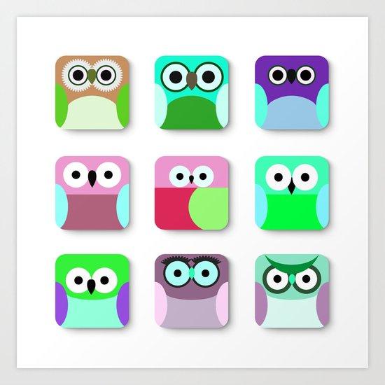 Cute Owl Pattern #2 Art Print