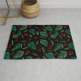 Christmas tree branches and berries - black and green Rug