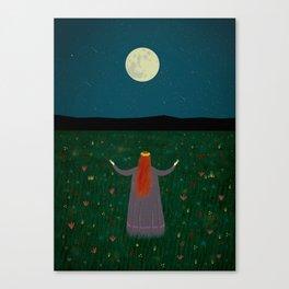 Night Sorceress worshipping the Moon Canvas Print
